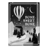 Home sweet home hot air balloon snowy little town poster