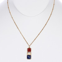 NECKLACE / NATURAL STONE / PENDANT / METAL SETTING / LINK / CHAIN / 18 INCH LONG / 1 1/4 INCH DROP / NICKEL AND LEAD COMPLIANT