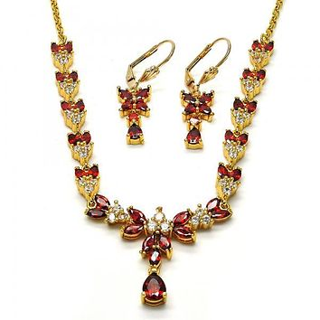 Gold Layered 06.221.0003 Necklace and Earring, Teardrop and Leaf Design, with Garnet and White Cubic Zirconia, Polished Finish, Gold Tone