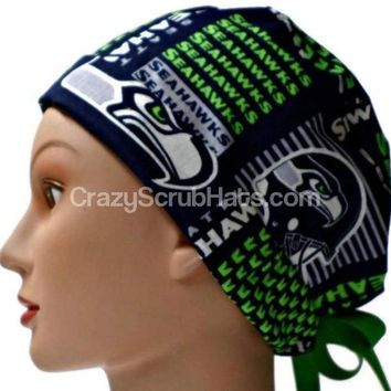 Women's Pixie Surgical Scrub Hat Cap in Seattle Seahawks Squares