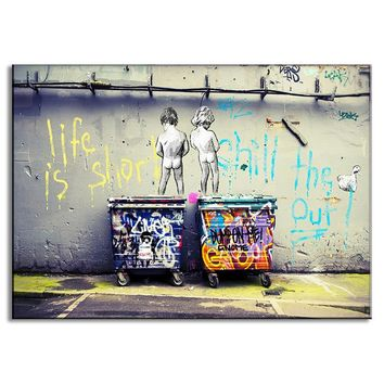 1 Pcs Modern Banksy Art Life Is Short Chill The Duck Out Wall Art Cheap Kids With Dustbin Painting Prints on Canvas Home Decor