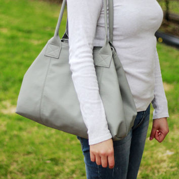 67befcb6af Grey leather tote bag - Morocco in grey - grey Italian pebble leather tote
