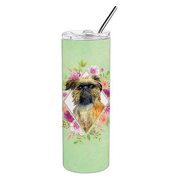 Brussels Griffon Green Flowers Double Walled Stainless Steel 20 oz Skinny Tumbler CK4283TBL20