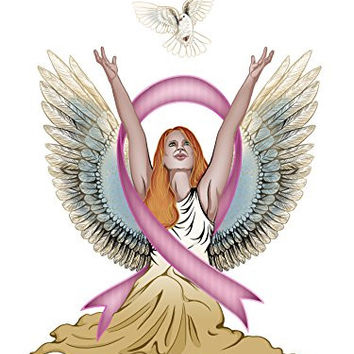 Angel & Dove Breast Cancer Awareness Ribbon 18x24 - Vinyl Print Poster