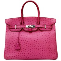 Hermes Pink Ostrich Leather 35cm Birkin Bag, 2006