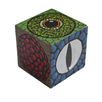 Reptile and insect eyes art cube, hand painted wooden block, prey and predator, snake, chameleon, fly eyes