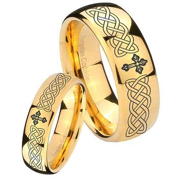 His Her Glossy Dome Celtic Cross 14K Gold IP Tungsten Wedding Rings Set
