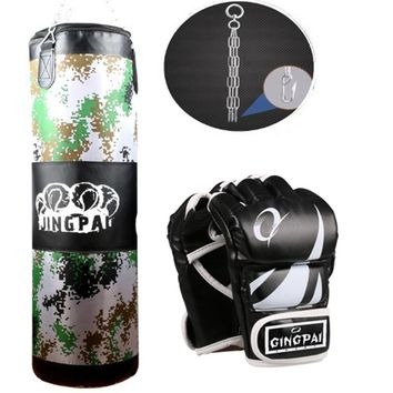 2016New Canvas sandbag child adult MMA kickBoxing Punching bag heavy duty Grappling fighting boxing gloves suit Empty punch bags