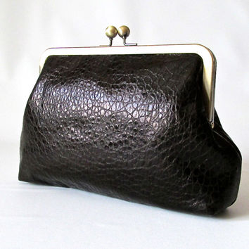 Classic black clutch,  leather clutch, Kiss Lock Clutch, Black Evening Clutch, Retro Style Clutch, frame clutch purse bag