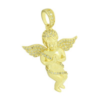 Praying Angel Pendant 14K Gold Finish Yellow Created Diamond Steel Necklace Mens