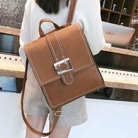 Retro Multi-function Shoulder Bag Brown Single Button British PU Leather Square Backpack