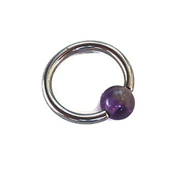 Captive Amethyst Bead Septum Upper Ear Daith Rook,Tragus,Cartilage,Hoop Earring,Nose Ring,Eyebrow Ring Body Jewelry 316L Surgical Steel Diameter:8mm,Gauge 16 (1.2mm)