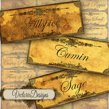 INSTANT DOWNLOAD Grunge Spice and Herbs Labels instant download printable  images digital collage sheet 095