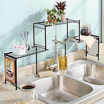 2 Tier Over Sink Organizer Shelf Metal Coffee Theme Kitchen