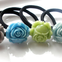 Stormy Seas hair accessories set lot of 3 ponytails hairbands gift for her under 20 aqua mint gray sea green
