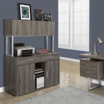 """Dark Taupe Reclaimed-Look 48""""L Office Storage Credenza"""