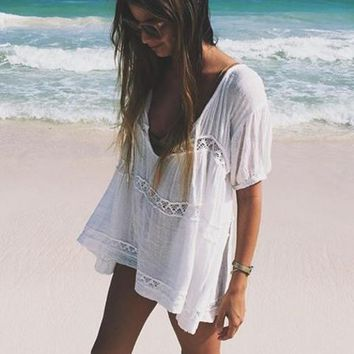 Lace short-sleeved T-shirt loose