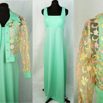 Vintage 70s maxi dress with cropped jacket  mint by vintagerunway