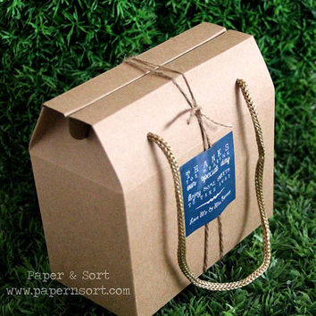 50 Small Gable Bags with String Handles + Personalized Stickers/ Labels - Kraft Brown Paper Box - Craft Show/ Wedding/ Party Favor Bag