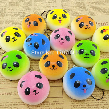 4CM mini Colorful Panda Squishy Bread Phone Straps Soft Cute Buns Key Chains 1PCS