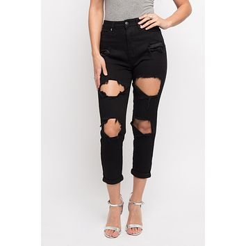 Distressed Cropped Boyfriend Jeans