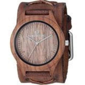 Natural wood case watch with Vintage X Leather cuff band