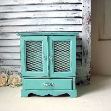 Aqua Mint Musical Jewelry Box, London Leather Vintage Wooden Jewelry Holder, Aqua Jewelry Chest, Gift Ideas, Nursery Decor