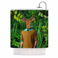 "Natt ""Into The Leaves N4"" Green Antelope Shower Curtain"