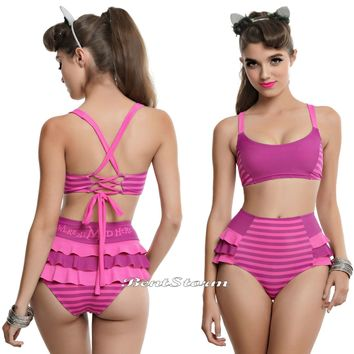 Licensed cool Disney Alice In Wonderland Cheshire Cat Swim Suit Swimsuit Bikini Top or Bottom