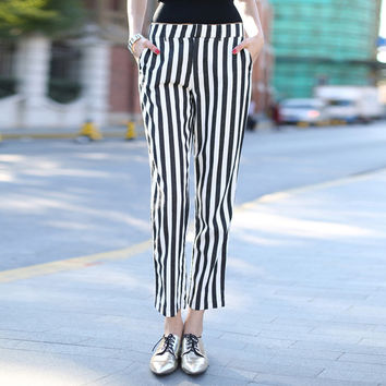Veri Gude Women's Pants Black and White Striped Pants Cotton Fashion Style