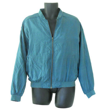 Men Silk Jacket Men Windbreaker Men Bomber Jacket 80s 90s Windbreaker Jacket Retro Windbreaker 90s Windbreak Teal Jacket Light Jacket
