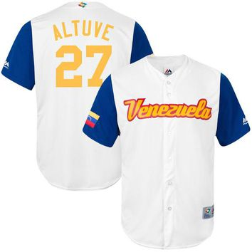 Men's Venezuela Baseball Jose Altuve Majestic White 2017 World Baseball Classic Replica Jersey