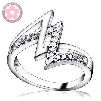 Unique Design Cubic Zirconia 925 Sterling Silver Ring Fine Jewelry Finger Ring for Women Wedding Rings Hot Sale Silver Jewelry