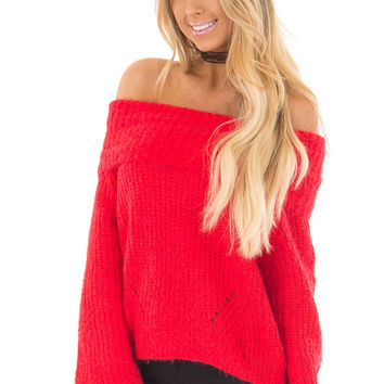 Lipstick Red Off the Shoulder Sweater