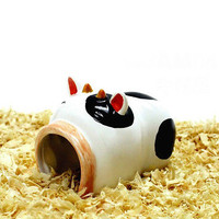 1X Ceramic Hamster nest Cool house-Dairy cow Shape mj