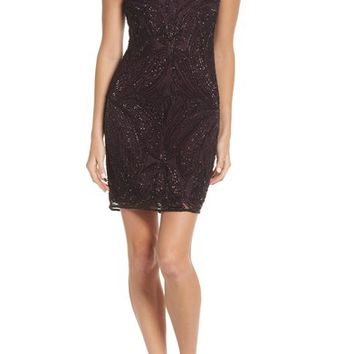 Pisarro Nights Beaded Illusion Yoke Sheath Dress (Regular & Petite) | Nordstrom