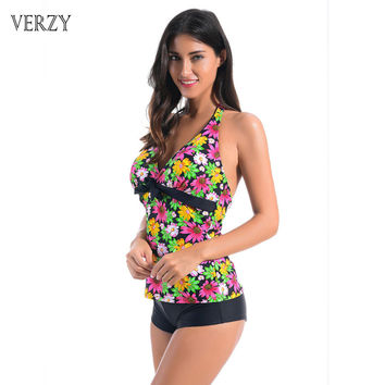 Women Two Pieces Swimsuit Sexy Push Up Lace Backless Floral Fitness Female Bathing Suit Tankini Beachwear Plus Size Two-piece
