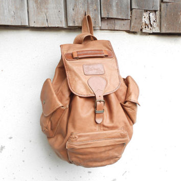 Vintage Leather Bag BELONG Leather Backpack Leather Rucksack With Handle / Medium - Large