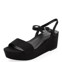 Black Ankle Strap Flatforms