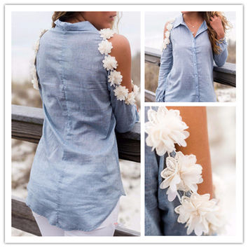 Bare Shoulder Hollow Flowers Turn-down Collar Slim Blouse