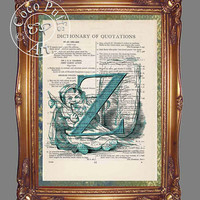 Teal Letter Z with Child Eating a Licorice Stick Art Beautifully Upcycled Vintage Dictionary Page Book Art Print