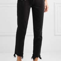 M.i.h Jeans - Mimi frayed high-rise straight-leg jeans