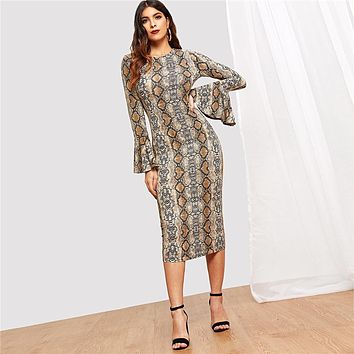 Flounce Sleeve Snake Skin Bell Sleeve Multicolor Round Neck Long Sleeve Fit and Flare Dress Women Casual Modern Lady Dress