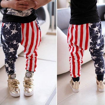 Toddler Baby Kids Boys Stars Striped Harem Pants Trousers Cotton Bottoms 1-5 Y = 1930273156