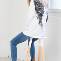 Women Sexy Backless Wing Angel Printing Long Sleeve Round Neck Cotton Top Shirt blusas feminina INY66