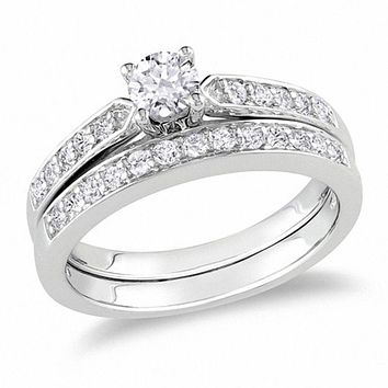 1/2 CT. Diamond Cathedral Style Bridal Engagement Ring Set in Sterling Silver
