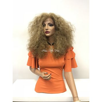 Balayage blond thick curly lace front wig - Forgiveness 218 20