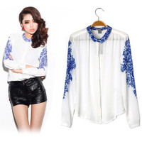 Porcelain Chiffon Shirt Long Sleeve