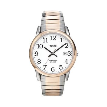 Timex Easy Reader Indiglo Two Tone Stainless Steel Expansion Watch - T2H311 - Men (White)