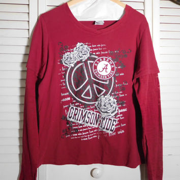 Red Long Sleeve Tshirt Alabama Crimson Tide Peace Sign Graphic Graffiti Size XL Add on Sleeve 90s Style Clothes Womens Tshirt Tunic Top